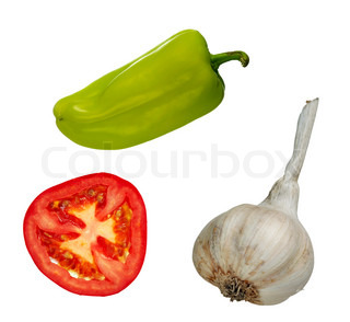 vegetables - slice of tomato, garlic and green pepper