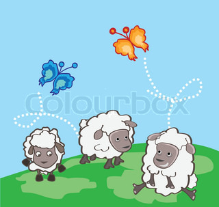 Funny sheeps with two beautiful butterflies