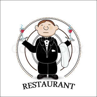 Illustration of restaurant sign with cartoon waiter