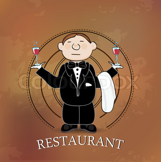 Illustration of restaurant sign with cartoon waiter on beige background