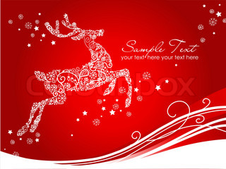 Beautiful  Reindeer on Red background