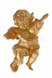 Angel plastic statue of an gold angel playing violin isolated on white background