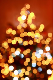 Abstract christmas tree formed by blurred lights - 