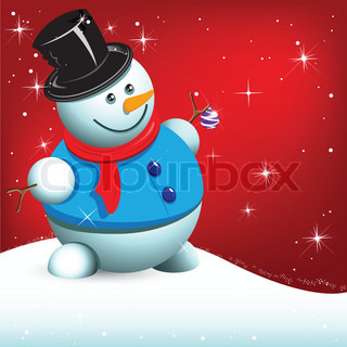 illustration, snowman with ball on red background