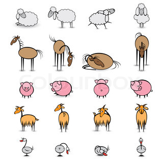 Set of various animals living on the farm Illustration on white background