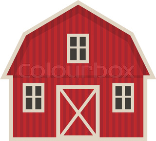 Farm Building Icon Flat Style Isolated On White Background Vector Illustration
