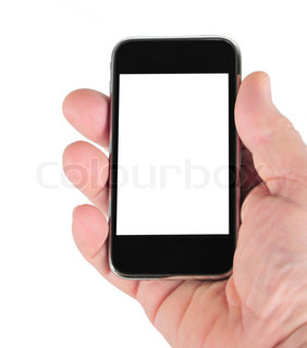 Mobile phone in the hand on white background with place for your text