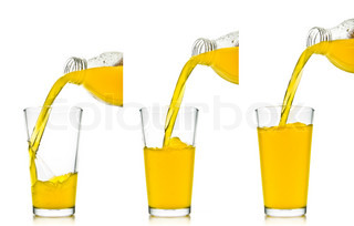 set of orange juice pouring into glass on white background