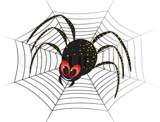 Illustration of cute black widow Spider on web