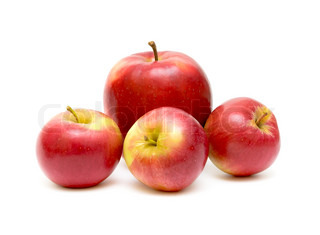 four red apple on white background close-up