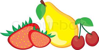 Abbildung gesunde Frische Früchte Birne, Pfirsich und Kirsche