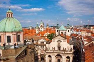 Cityscape of Prague in summer