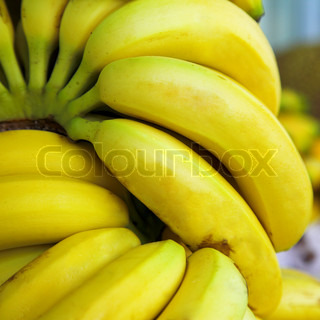 many banana fruits in the tropical market