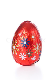 wrapped chocolated easter egg isolated
