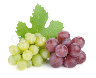 White and red grapes Isolated on white background
