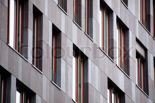 Windows of modern office building close up