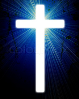 glowing cross on a grunge background, with radial rays of light