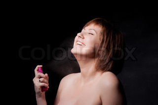 young woman with spray