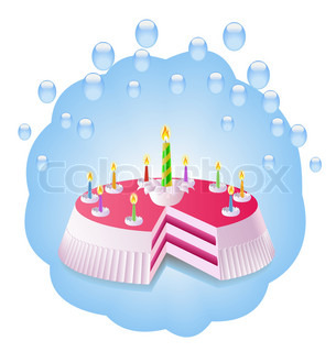 Birthday cake with candles is shown in the image