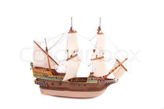 model of old ship on the white background