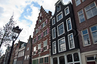 Typical facades and gabled houses in Amsterdam, Netherlands