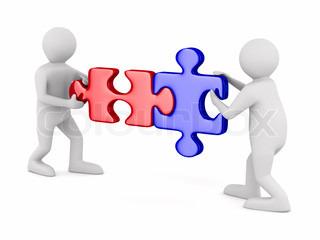 Zwei Mann mit Puzzle auf weißem Hintergrund 3D-Bild