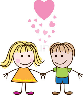 Vector illustration of cute Valentine's Day heart with boy and girl