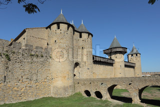 Bridge to the medieval town Carcassonne in France