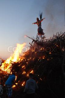 Skt. Hans Fire being lit by children