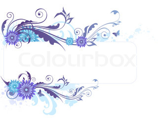 banner with floral ornament and blots