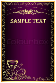 illustration background with golden grape and goblet for menu
