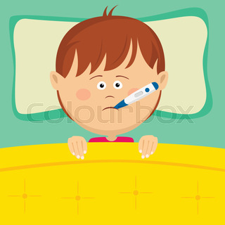Outlined sick kid lying in bed vector illustration coloring page little sick boy with thermometer in his mouth lying in bed altavistaventures Images