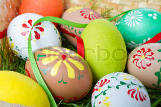 easter eggs collection in a basket