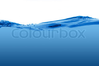 Blue water wave isolated on a white background