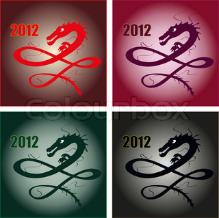 Set of different dragons for 2012 New Year