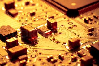 close up of electronic circuit board