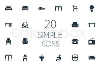 Vector Illustration Set Of Simple Furniture Icons Elements Sofa Bench Contemporary Design And