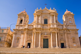 typical baroque church in sicily, italy