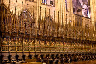 interior of a gothic church in Barcelona, Spain