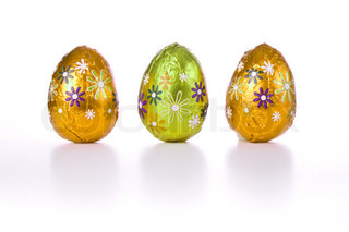 wrapped chocolated easter eggs isolated