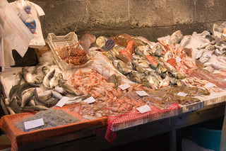 typical sicilian fish market, Italy