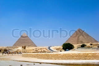 Symbol Egypt's - Sphinx and pyramids in Giza, Cairo - one from 7 wonder world