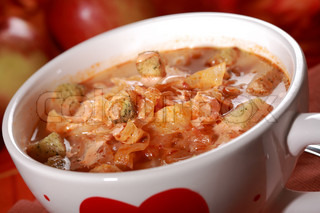 Red cabbage soup with croutons sauerkraut - Slovak national dish