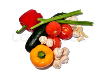 vegetable mix on white background, isolated