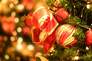 Christmas tree and twinkling fairy lights
