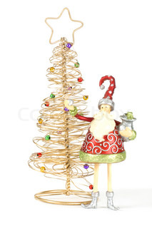 Two Christmas Decorations - Golden Christmas tree with decorative baubles and santa elf decoration on white background