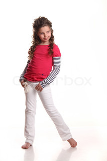 laugh a little girl at the studio shooting