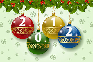 Stylized Christmas balls with number 2012