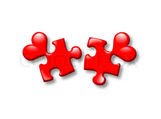 puzzles hearts on a separate white background