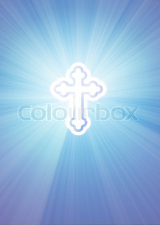 shining cross on a blue background in the rays